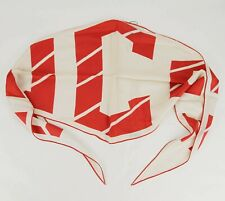 Gucci Beige Silk Diamond Shaped Scarf with Red Gucci Logo 524100 9074
