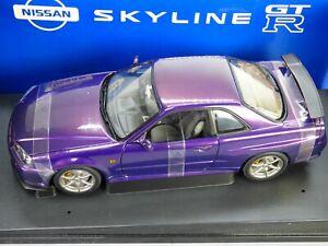 Rare AUTOart Nissan Skyline R34 GT-R Nismo Midnight Purple Collectible Toy Car