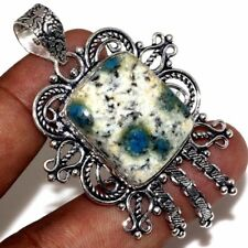 "Handmade Blue Azurite Jasper 925 Sterling Silver 2.5"" Pendant #P17499"