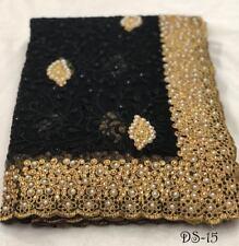 Black Indian Bollywood Wedding Pakistani NET Saree Embroidery Sari Fabric Dress