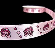 "5 Yds Pink Ballerina Shoes Girly Scrapbook Satin Ribbon 5/8""W"
