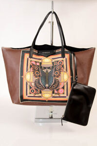 Givenchy Antigona brown leather butterfly 2pc tote pouch handbag purse $1320