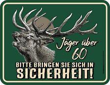Men Fun Sign - Hunter Over 60 - Aluminium Metal Sign Printed Birthday Gift