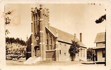 Wonewoc WI Jerome Roman Catholic Church on Center St~Gothic Tower~RPPC c1927