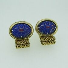 Gold Tone Hickok Blue Etched Stone with Link Chain Cufflinks