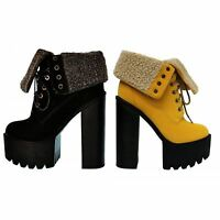 New ladies cleated sole platform womens lace up fur chunky high heel ankle boot