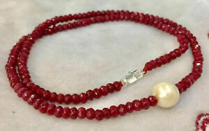 """9-10mm White Freshwater Pearl & 2x4mm Red Ruby Roundel Faceted Necklace 18"""" AAA"""