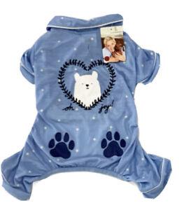 "ELLEN DEGENERES Blue Cotton Christmas PAJAMAS ""POLAR BEAR"" Puppy/Dog MEDIUM"