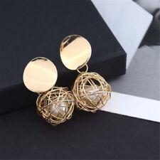 Women  Charm Gold Plated Round Pearl Dangle Drop Earrings Stud Fashion Jewelry