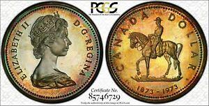 1973 CANADA S$1 R.C.M.P PCGS SP65 GORGEOUS COLOR TONED COIN!  WOW!