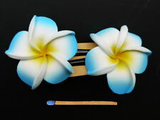 Hawaii Barrettes Duo 6cm Jaune Frangipane Blanc Bleu