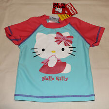 Hello Kitty Girls Blue / Pink Printed Short Sleeve Rash Vest Size 0 New Marked