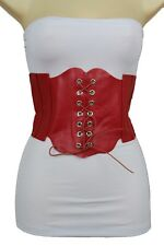 Women Fashion Corset Belt Extra Wide Red Faux Leather Stretch Waistband M L XL