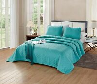 CAL KING Size Aria Quilt Set Solid Turquoise Blue Microfiber Coverlet Bedspread