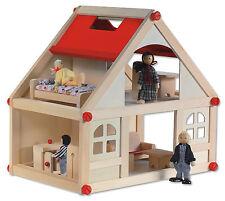 Puppenhäuschen Puppenhaus Puppenstube aus unbehandeltem Holz - B 39 cm H 37 cm