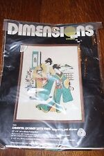"""Vintage Needlepoint Kit DIMENSIONS Oriental Women With Fans 1982 #1233 18"""" x 24"""""""
