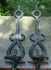 2 x Vintage Homco Cast Metal Candle Holder Sconces- Architectural Salvage ~ 18""