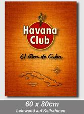 Havana Club & Kuba - 60x80cm Leinwand auf Holzkeilrahmen top Dekoration Vintage