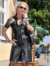 Lederkleid Hemdkleid Schwarz Geknöpft Jeansstil Maßanfertigung