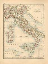 1892 VICTORIAN MAP ~ ITALY ~ SARDINIA SICILY TUSCANY ROME VENICE LOMBARDY