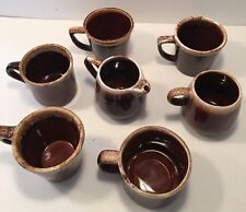 Tea or Coffee Cups & Creamer Set Pottery Brown Drip Glazed USA McCoy Oven Proof