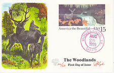 PUGH HAND PAINTED FIRST DAY COVER FDC 1989 WOODLANDS POSTAL CARD INFO ON BACK