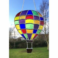 Handmade Stained Glass Hot Air Balloon Suncatcher Multicolour Patchwork Design