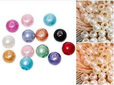 Orificio grande imitación perlas de cuero Kumihimo Europea de la artesanía - 12mm-lady-muck1