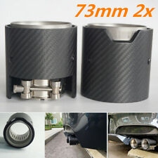 2Pcs Sport Muffler Exhaust Tips 70mm Clamp Matte Black Carbon Fiber For BMW Car