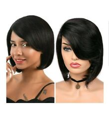 Lace Part Human Hair Wigs With Bangs Side Part 10 Inch, Brazilian Virgin Human