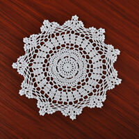 4Pcs/Lot White Vintage Hand Crochet Lace Doilies Round Cotton Table Mats 30cm