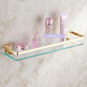 Bathroom Toughened Glass Gold Storage Rack Shower Shelf Shampoo Cosmetics Basket