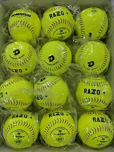 "3 DOZEN DEMARINI WTDRZPL12AB LEATHER RAZZO ASA 12"" SOFTBALLS 36 BALLS 52 - 300"