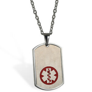Men Stainless Medical ID Dog Tag Diabetic Pendant Necklace Free Custom Engraving