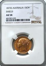 More details for 1873 s gold shield sovereign shield ngc au58 sov australia