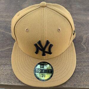 New Era 59/50 New York Yankees Wheat Tan Black NY Fitted Hat 7 1/4 Custom 5