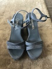 CHANEL 38 Shoes, Chanel Party Platform Wedge Mules Sandal Boots Blue Sz 38