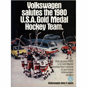 1980 Volkswagen: Salutes 1980 USA Gold Medal Hockey Team Vintage Print Ad