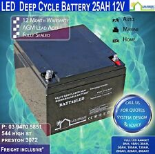 12V 25AH AGM Deep Cycle Battery, Security, RV's, Buses 12V 25Ah - FREE FREIGHT!!