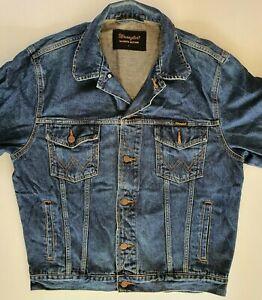 Men`s Vintage Wrangler Denim Trucker Jacket Size Large Blue