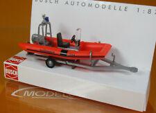 Busch 59957 Anhänger mit Motorboot BRK-Wasserwacht Scale 1 87 Neu