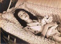Antique Post Mortem Funeral Casket Photo 228b Odd Strange & Bizarre