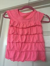 Faded Glory Pink Ruffle Cap Sleeve Jewel Embellished top M 7-8
