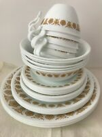 Vintage Corelle Set of Dishes. Gold Butterfly Cups & Dishes. 29 Pieces.