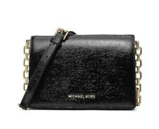 Michael Kors Brinkley Messenger Cross-body Black  Patent Leather Handbag SM/ MD