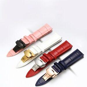 Echtes Leder Uhrenarmband Armband Lederarmband Butterfly Buckle Clasp14mm-24mm