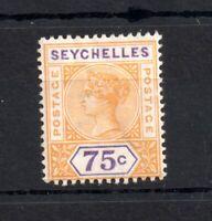 Seychelles QV 1897-1900 75c yellow SG33 mint MH WS19365