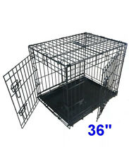 Large Dog Cage Puppy Pet Folding Crate Kennel Tray Metal 36 Inch 2 Door Travel