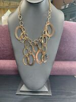 Vintage Necklace Gold Tone Bold Dangle Charm  Statement Bib  18""