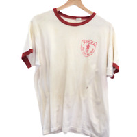 H186 Vintage Champion Ponca Military Academy Logo Tee Shirt Made In USA Size XL